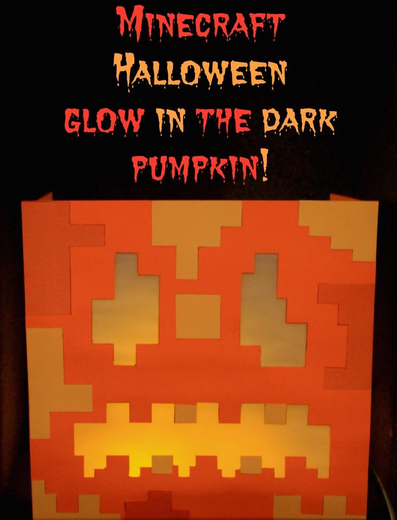 Minecraft Halloween glow in the dark pumpkin
