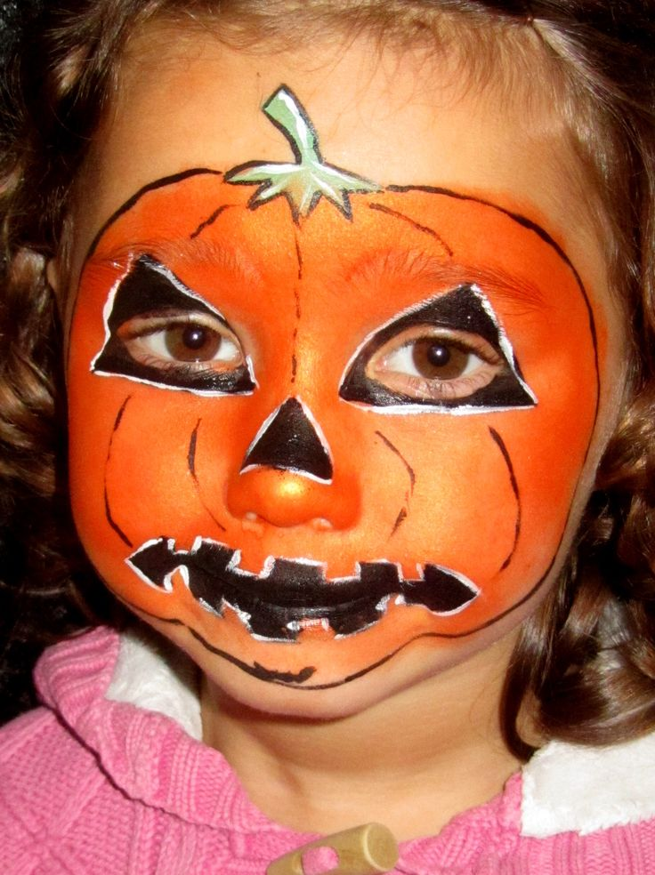 Pumpkin face halloween face paint ideas for kids