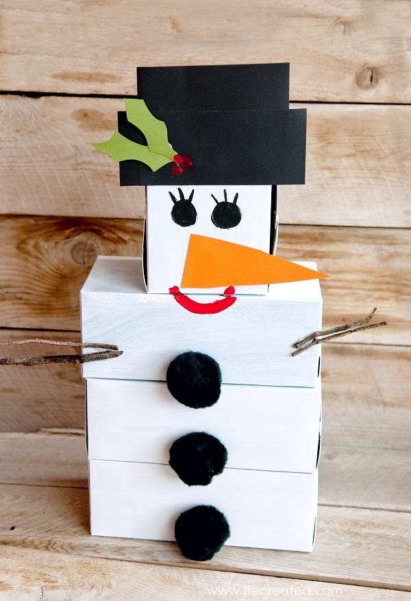 Snowman Tissue Box Bowling game