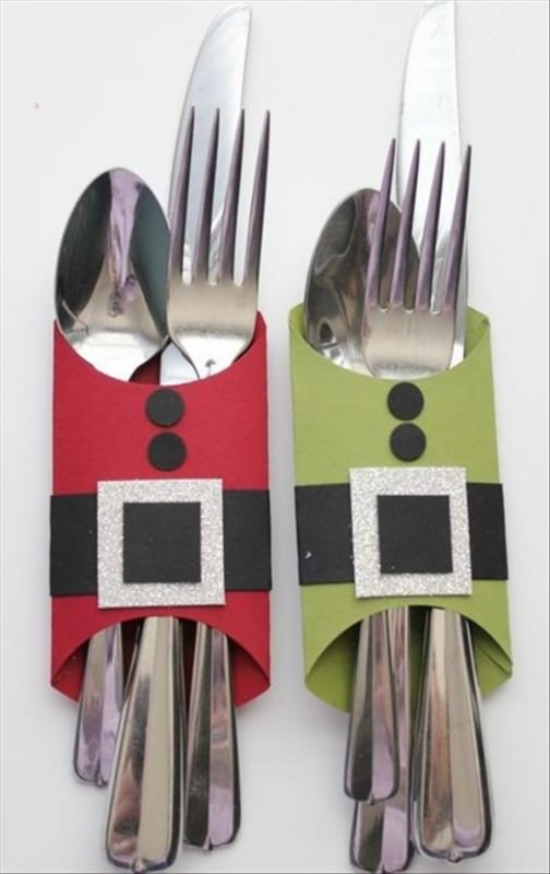 christmas party ideas santa toilet roll knife and fork holder
