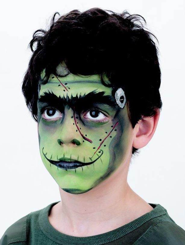 frankenstein halloween face painting idea for kids