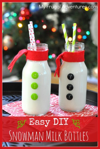 home made snowman milk bottles