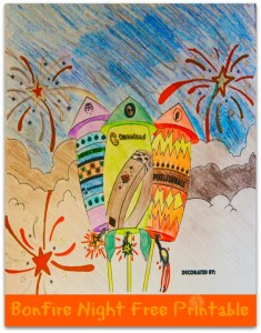 Free Bonfire Night Firework Printable Colouring Page for kids