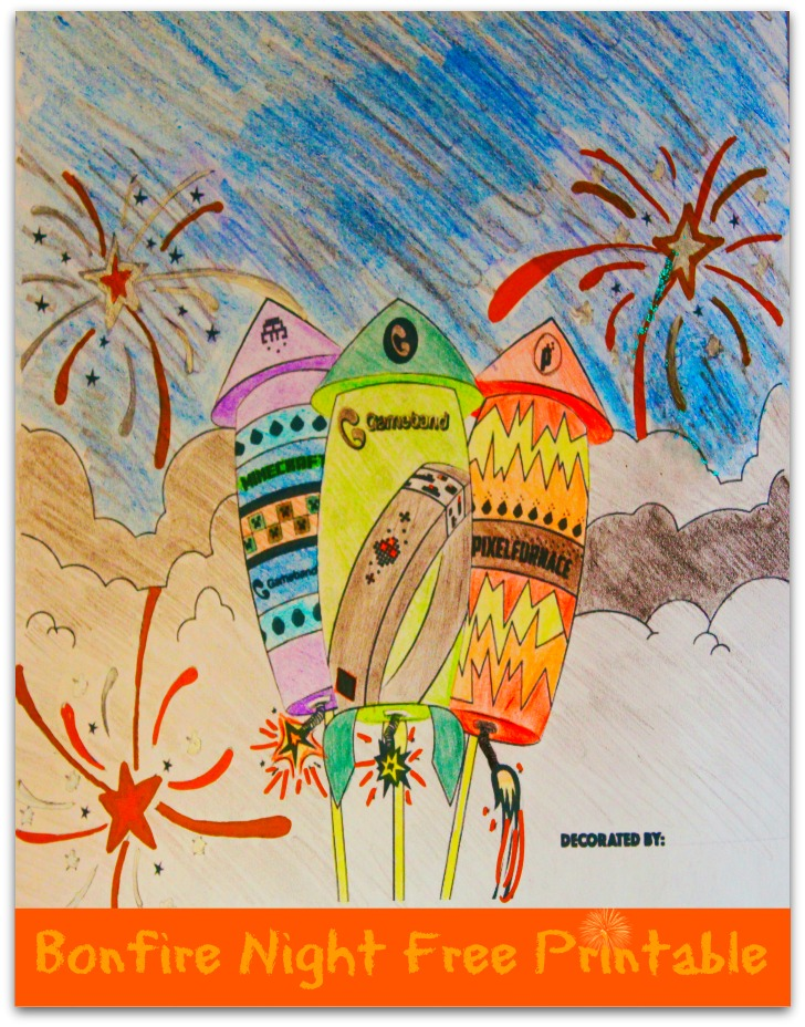 Bonfire night firework display free colouring page printable