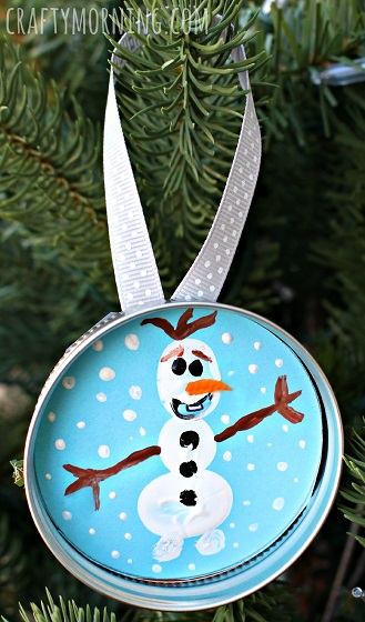 DIY Frozen Christmas Decorations Fingerprint mason jars
