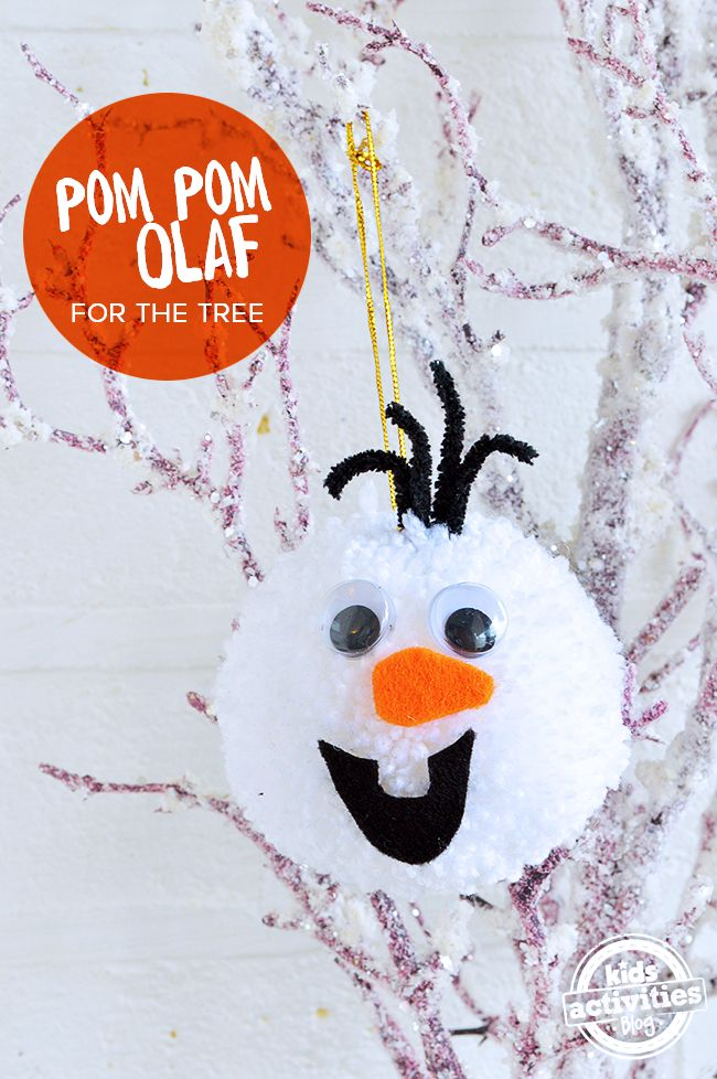 DIY Frozen Christmas Decorations Pom Pom Olaf for the Tree