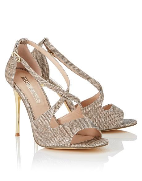 Lipsy Soloro gold glitter strappy heeled sandals