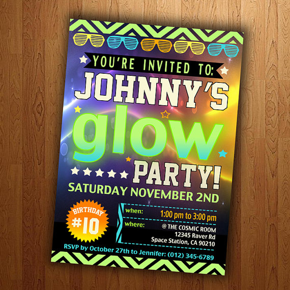 Neon Party Ideas for Kids Glow in the dark invitation