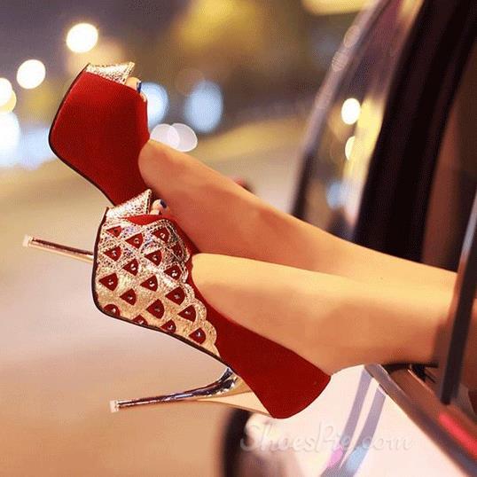 Red Peep-toe Heels with Peacock pattern Platform Heels