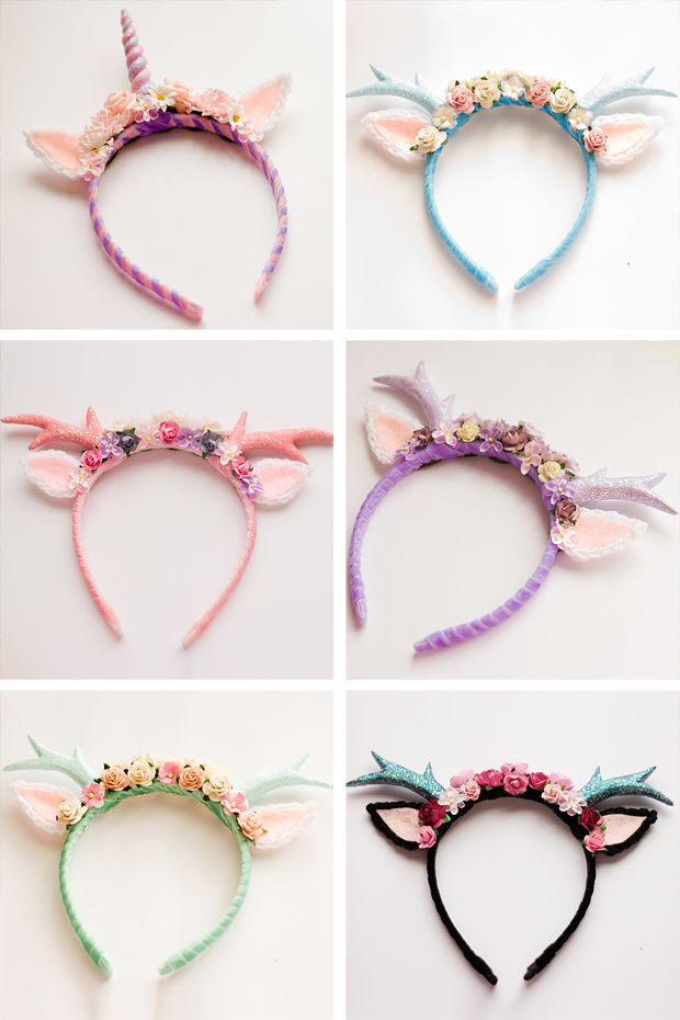 Unicorn Birthday Party Ideas - handmade deer and unicorn bands