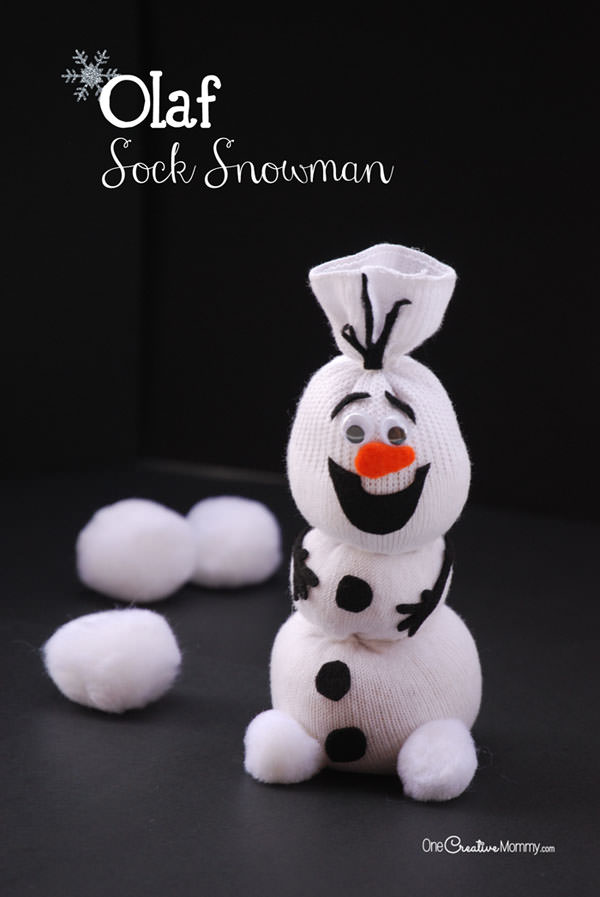 DIY Frozen Christmas Decorations olaf sock snowman