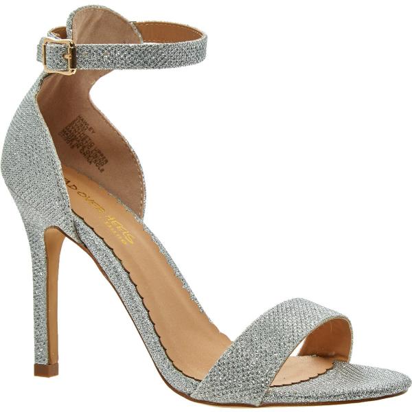 head over heels silver tone lurex double strap heels