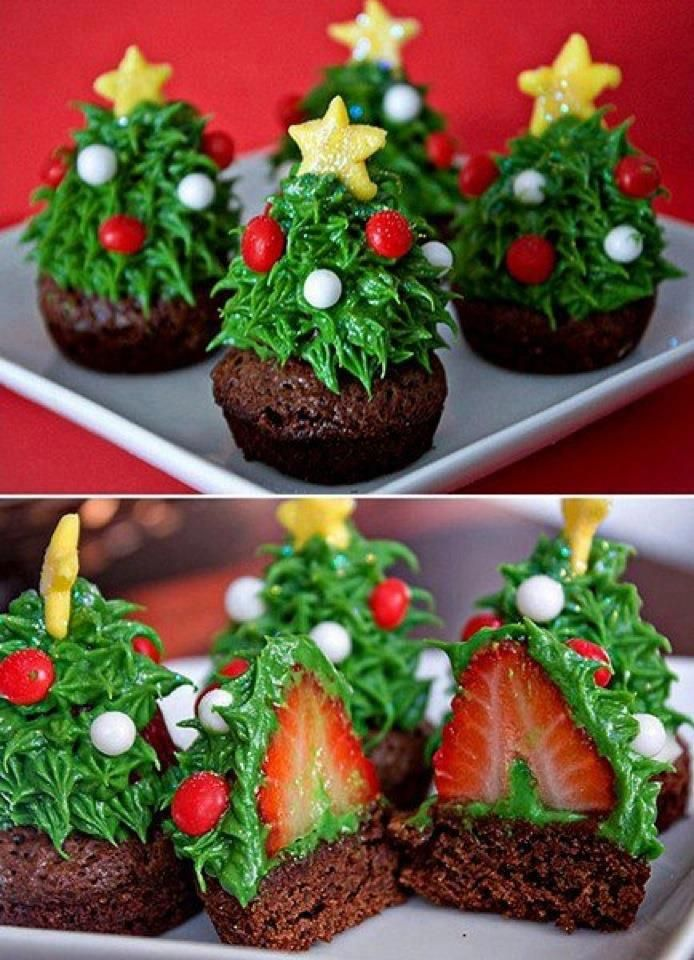 16 Awesome Christmas Day Dessert Recipes - strawberry christmas tree brownie bites
