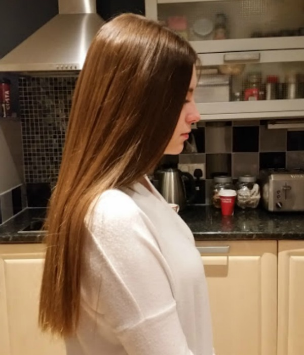 hair after using steampod on wavy hair