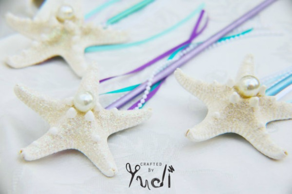 21 MERMAID BIRTHDAY PARTY IDEAS FOR KIDS - Mermaid Starfish Ribbon Wands