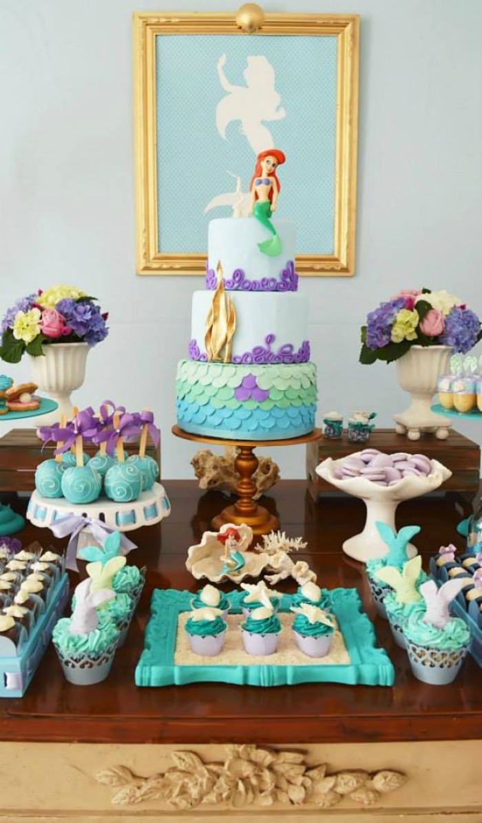 21 marvelous mermaid party ideas for kids for Ariel birthday decoration ideas