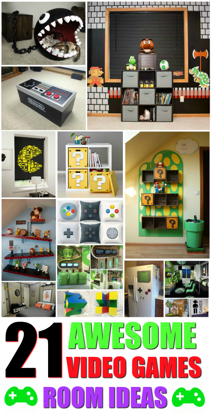 21 truly awesome video game room ideas u me and the kids for Room decor stuff