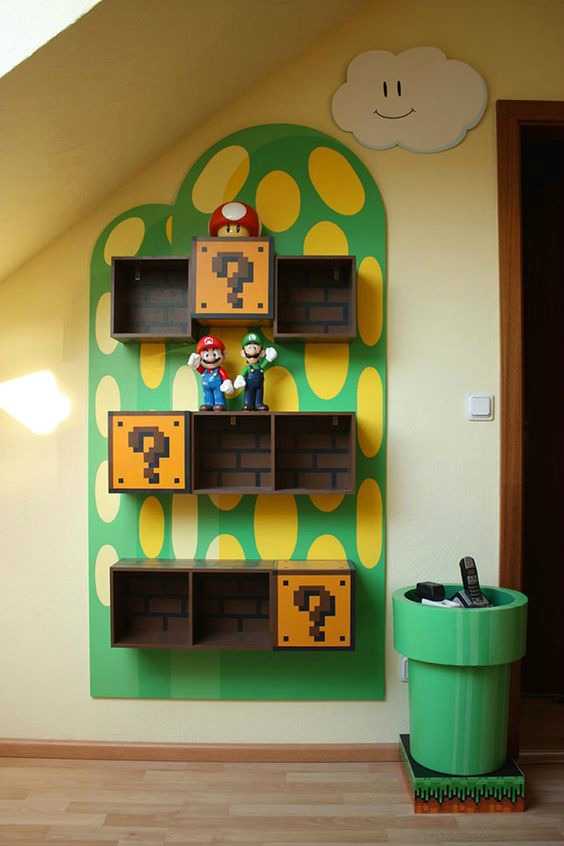 Video Game Room Ideas Super Mario Shelves and Warp Pipe Table