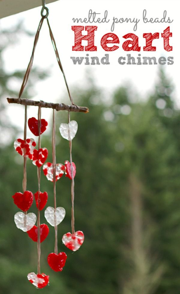 Valentines Day Ideas for Kids Melted Pony Beads Heart Wind Chimes
