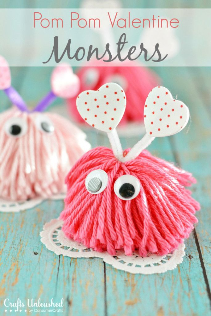Valentines Day Ideas for Kids Pom Pom Valentine Monsters