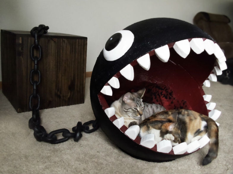 Video-Game-Room-Ideas-Chain-Chomp-cat-bed