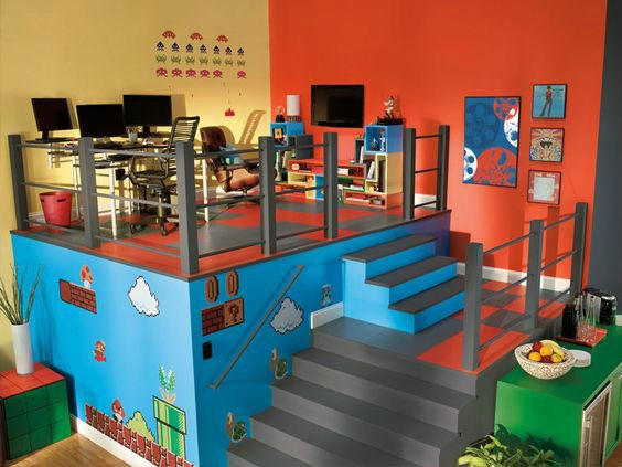 Video Game Room Ideas Mario Themed Games Room