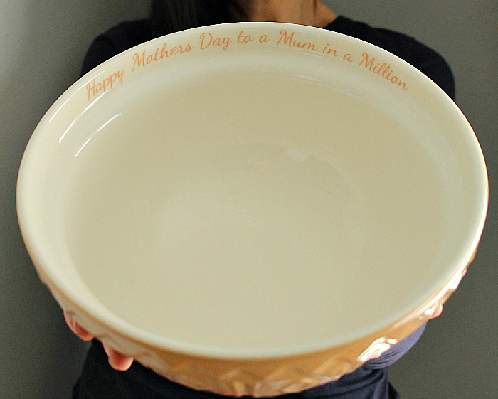 Perfect Gifts for Mother's Day -Personalised Message Tan Mixing Bowl