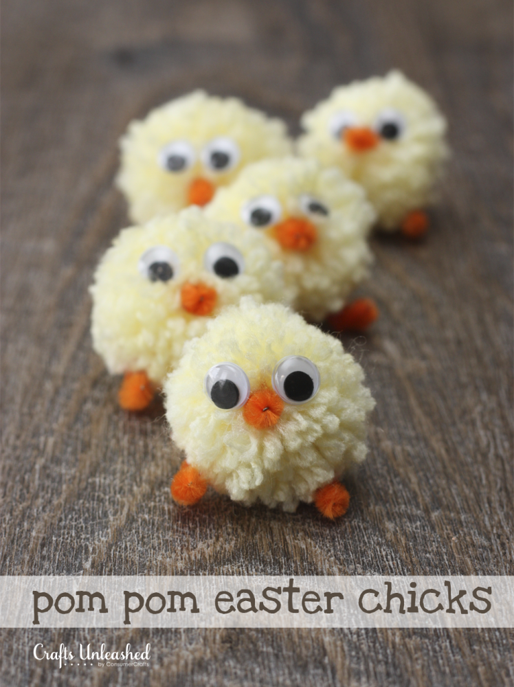 Easter Crafts pom pom Easter Chicks