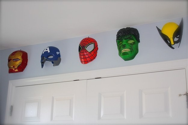SuperHero-Masks-Hanging-From-The-Wall