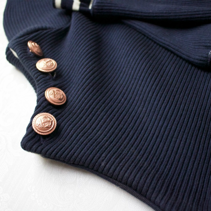 Petit Bateau for Stylish Ladies French Fashion - Jumper close up on buttons