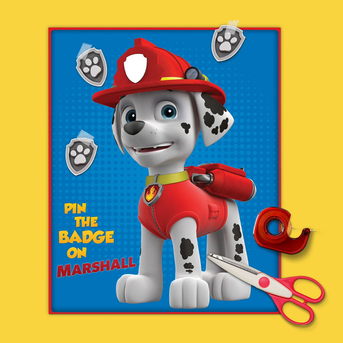 21 Paw Patrol Birthday Party Ideas - Pin The Badge On Marshall Party Game